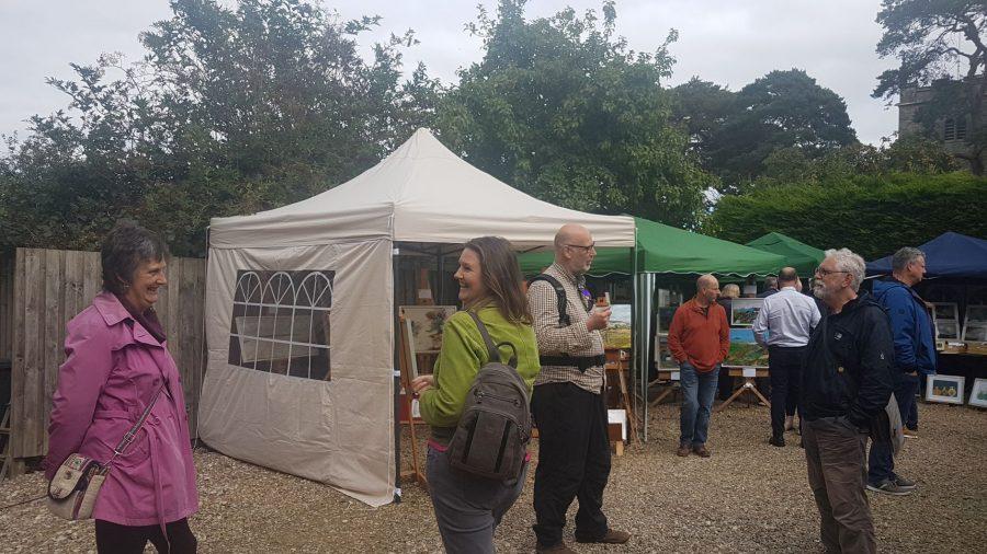 Nunnington meet the artists. Artists and visitors talking in the open at Nunnington