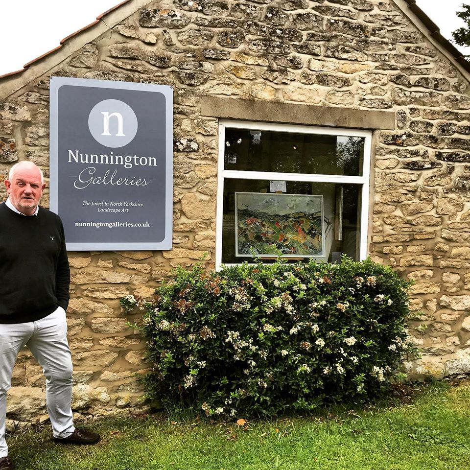 Nunnington Galleries exterior with Phil's painting on display in the window