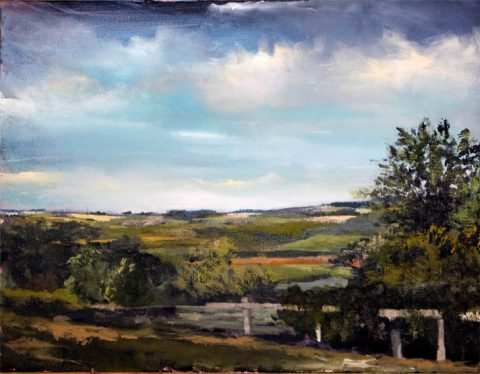 view of the Howardian Hills from Nunnington Galleries